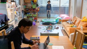 Typical telework scene in Japan during COVID-19